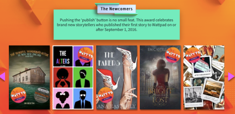 Wattys 2017 Newcomers category